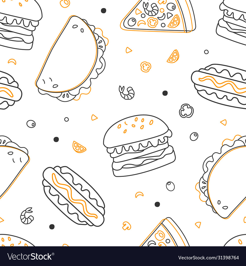 Fast food seamless pattern restaurant or cafe vector