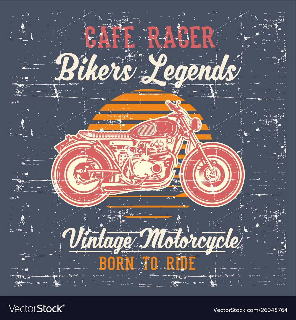 Grunge style vintage motorcycle cafe racer hand