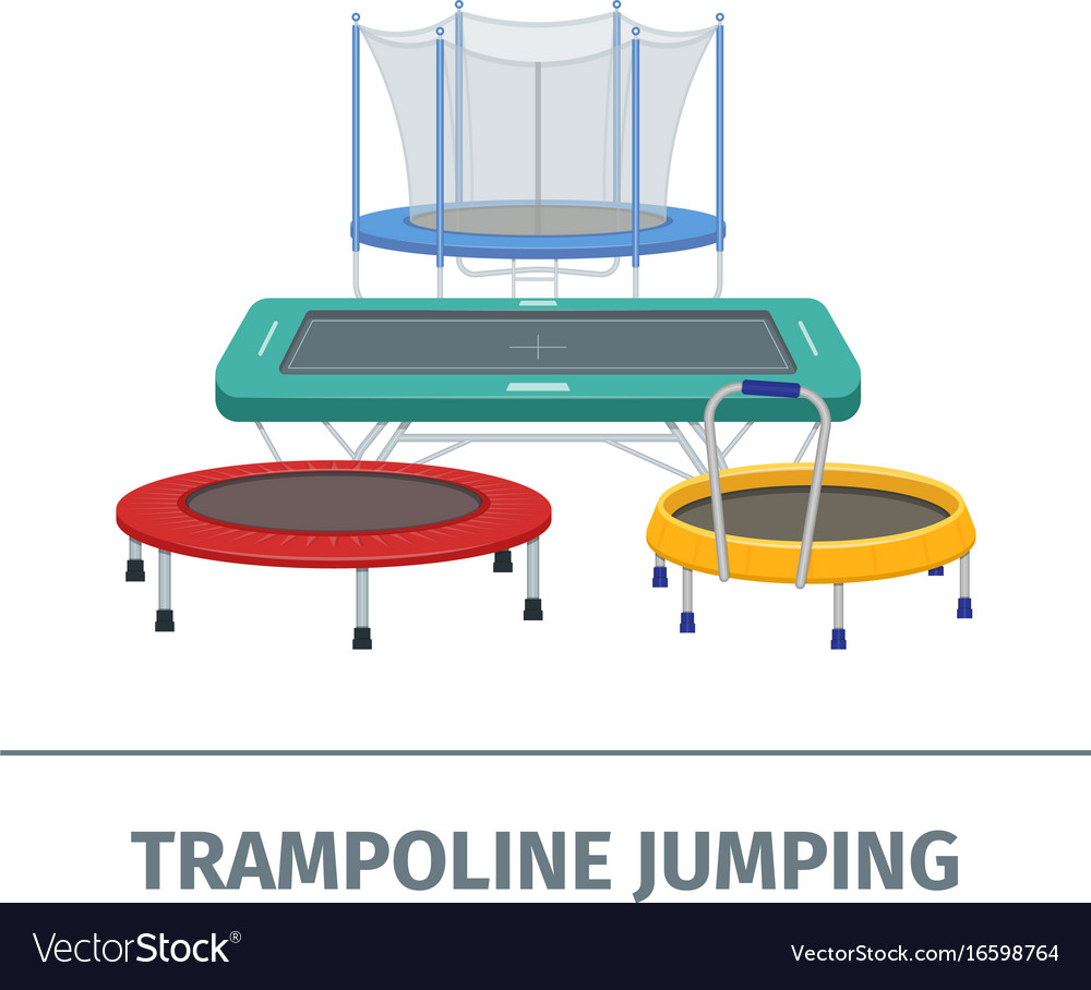 Jumping trampoline flat realistic icon