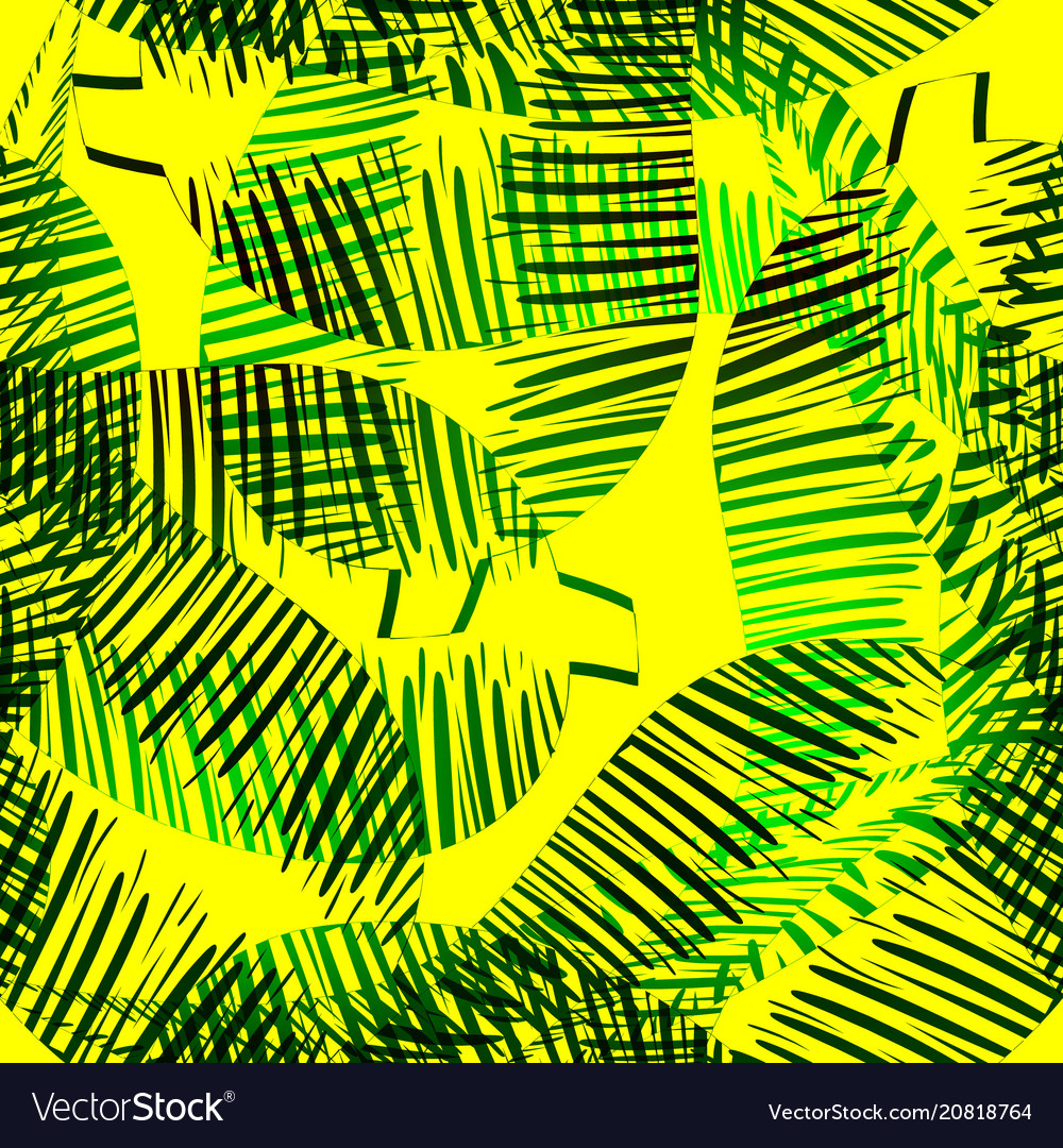 Pattern of green feathers and leaves on a yellow