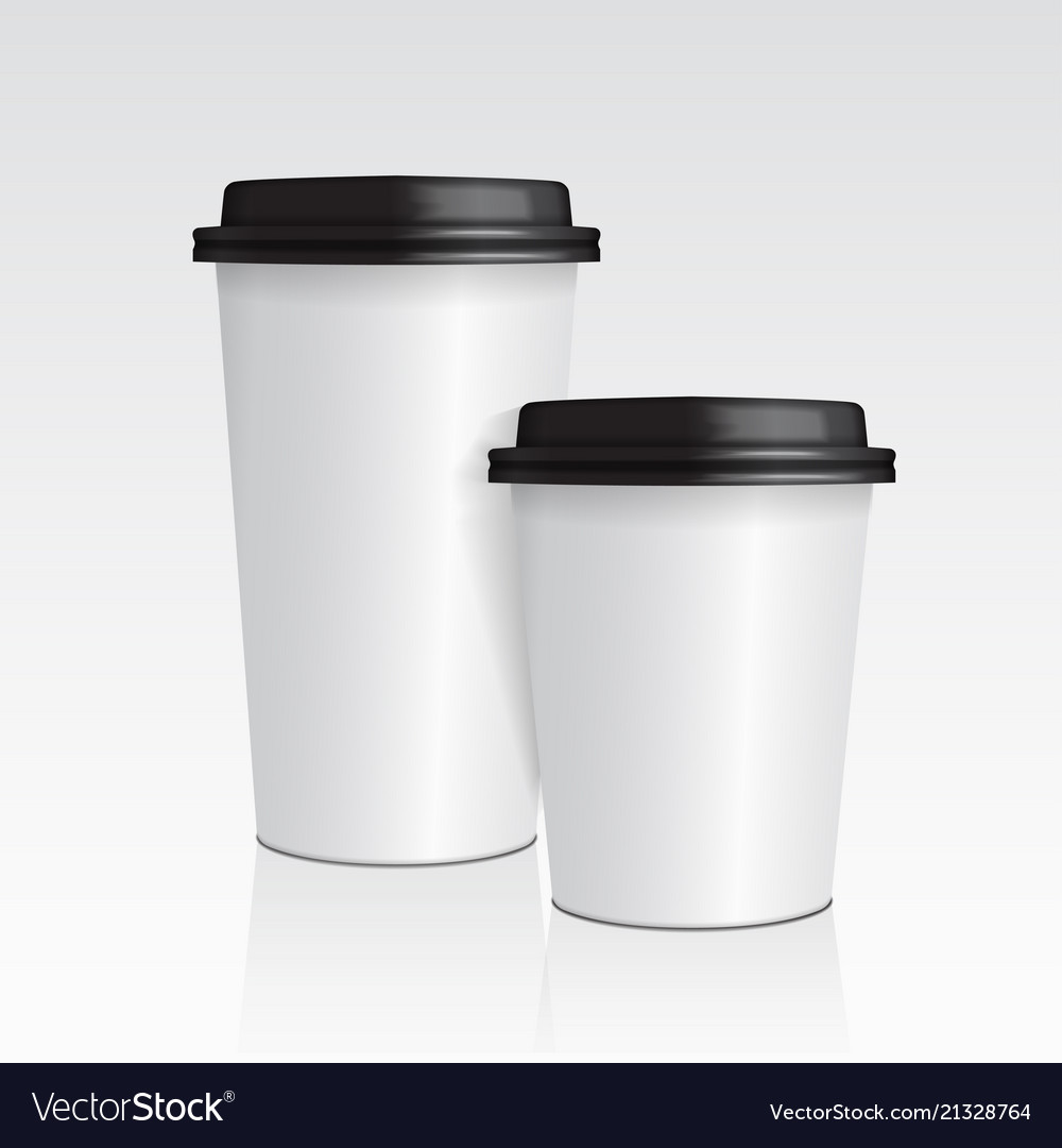 Realistic paper coffee cup set of 3d coffee cup