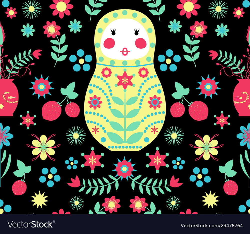 Seamless russian doll floral black pattern