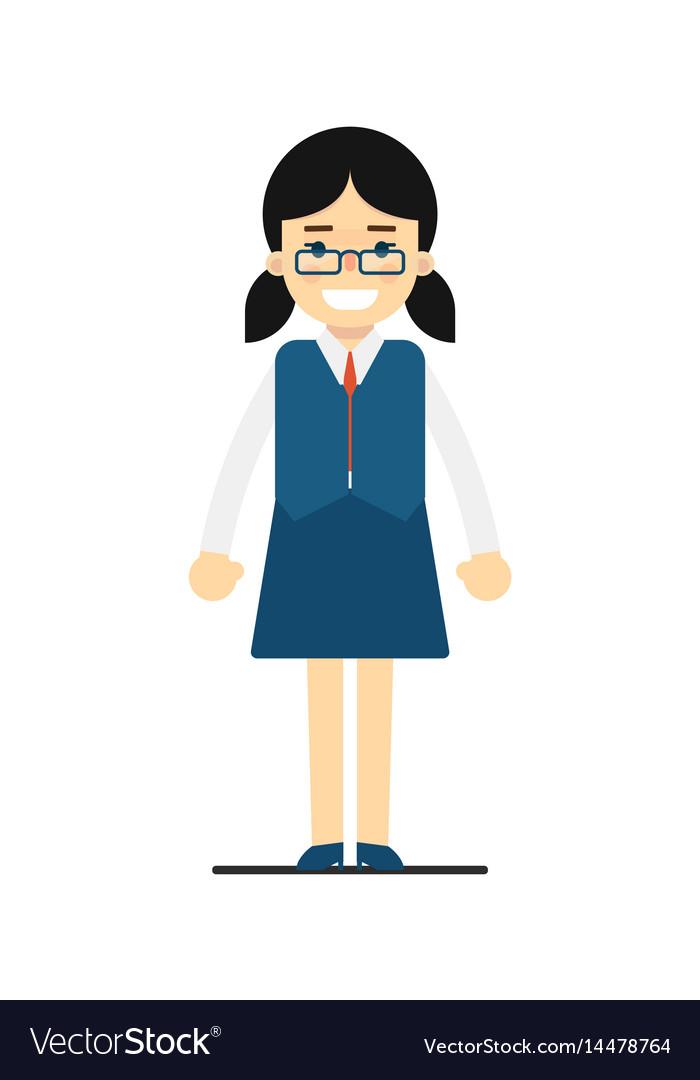 Smiling schoolgirl in blue uniform