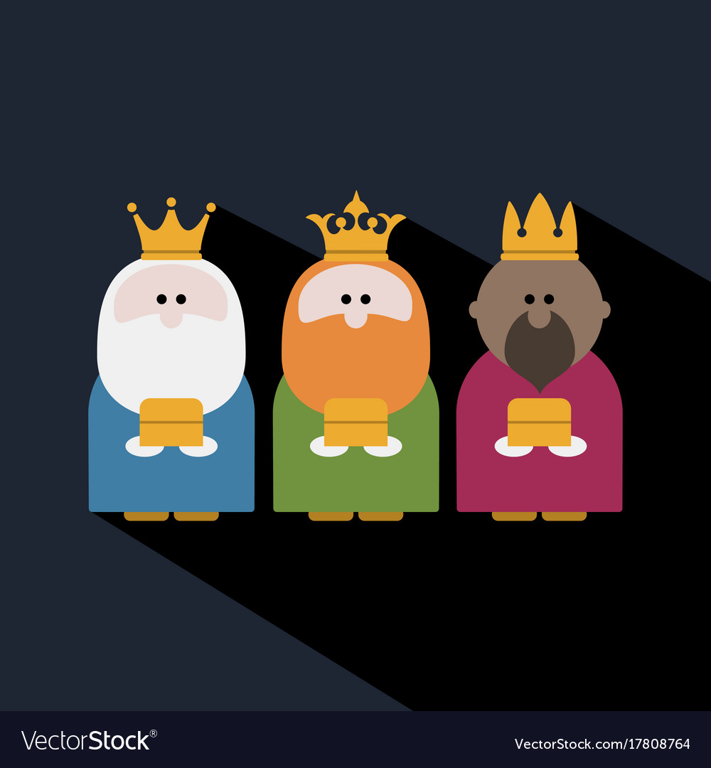 Three kings on epiphany day and a dark background vector image