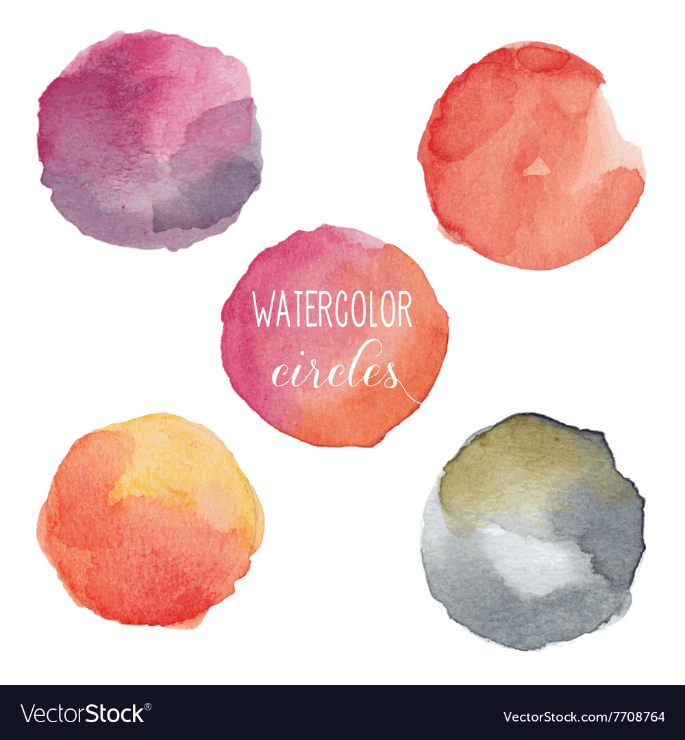 Watercolor circles in warm colors