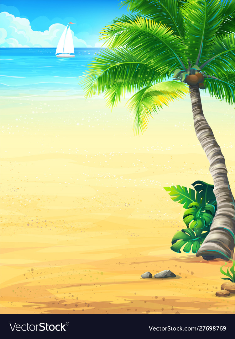 Background vacation with sun sea sky palm trees