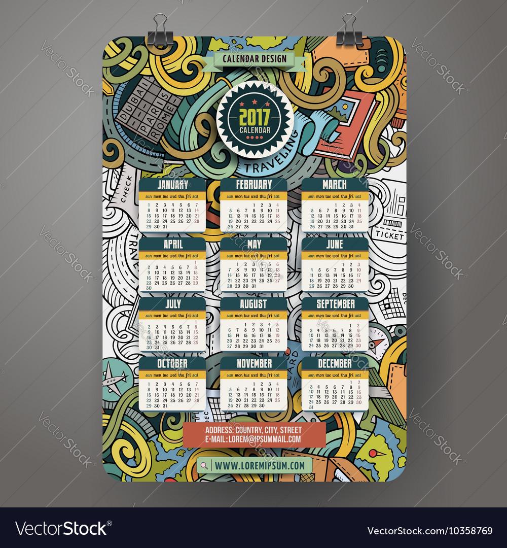 Cartoon doodles traveling 2017 year calendar