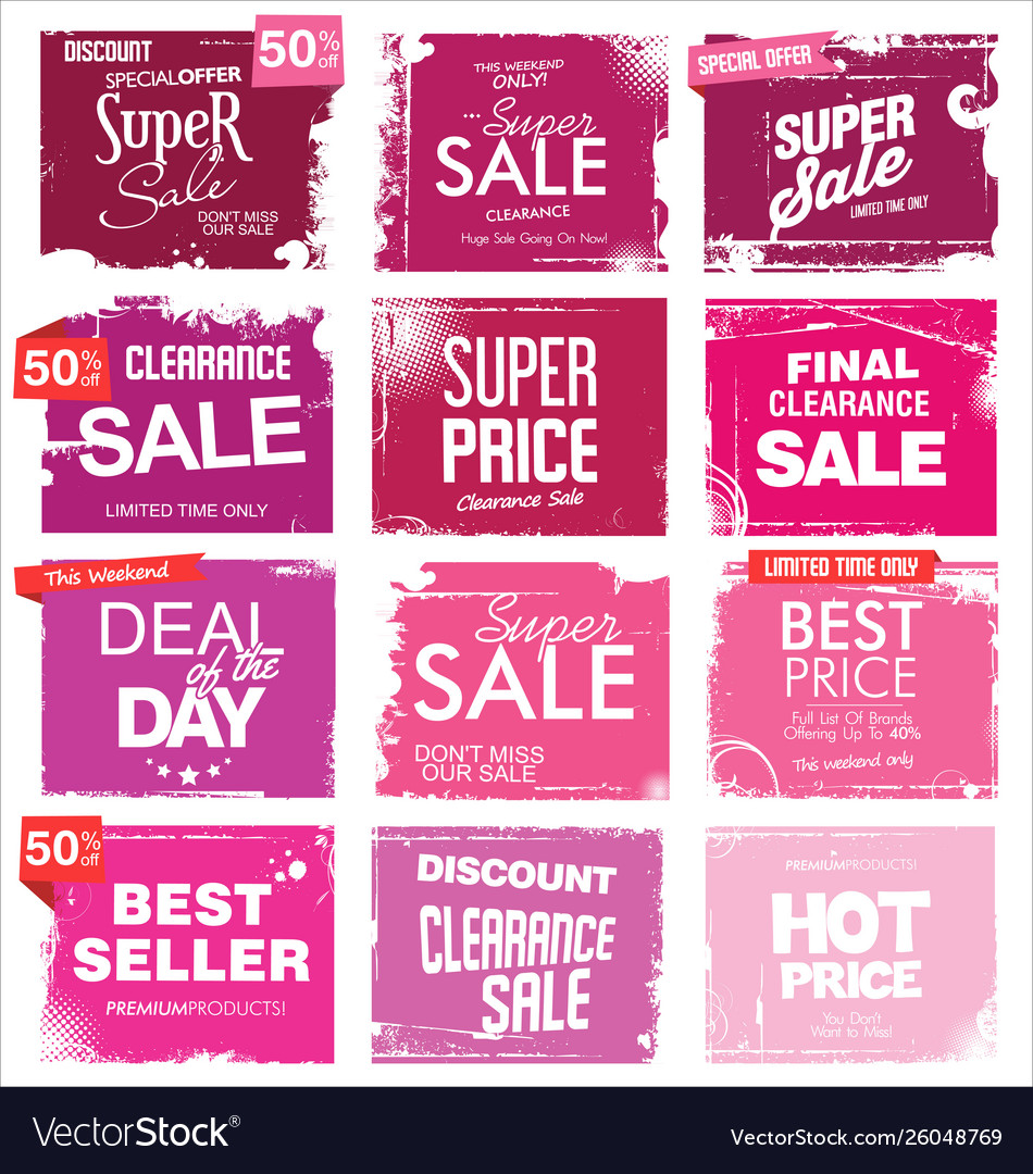 Collection pink grunge retro sale background