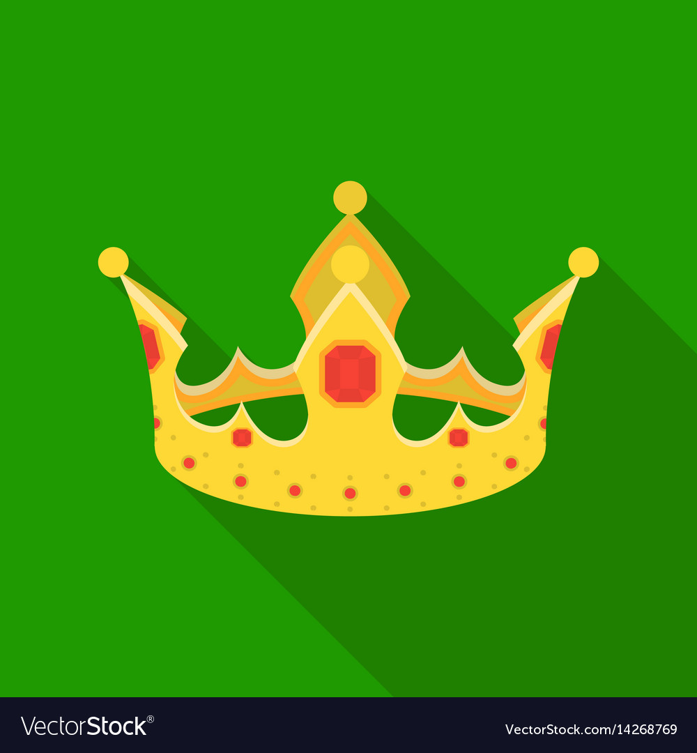 Crown icon in flat style isolated on white