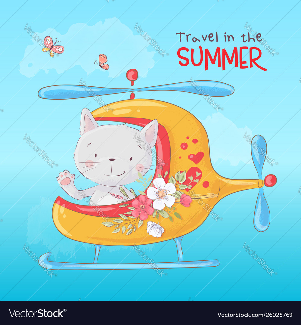 Cute cartoon cat in a helicopter postcard print