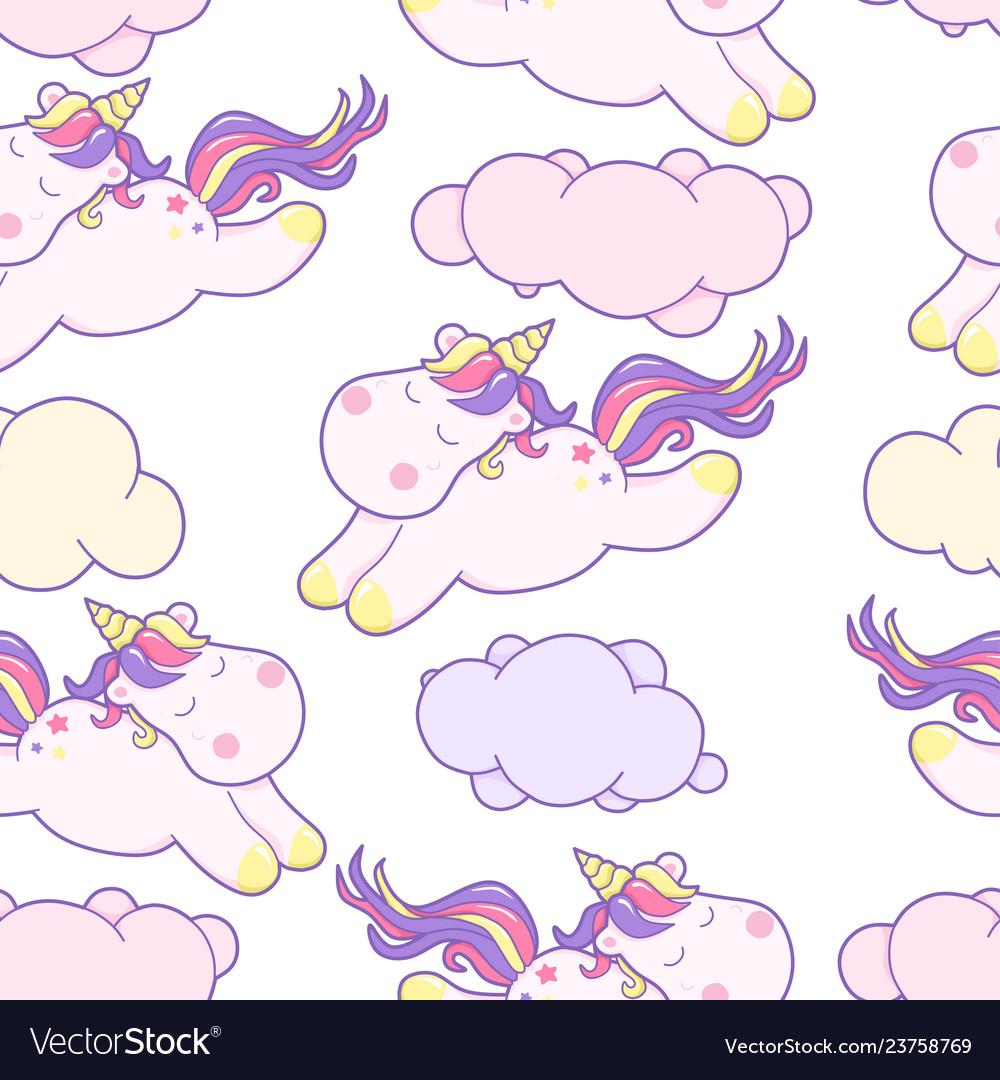 Cute kawaii unicorn with magical clouds