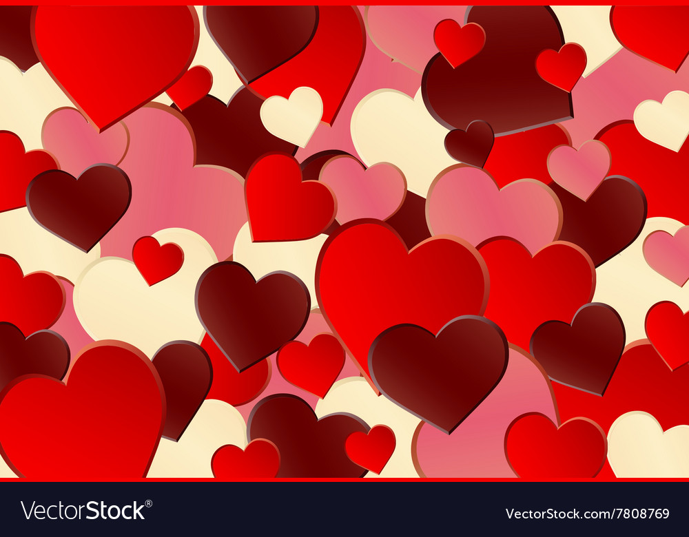Different Red Heart Shape Background