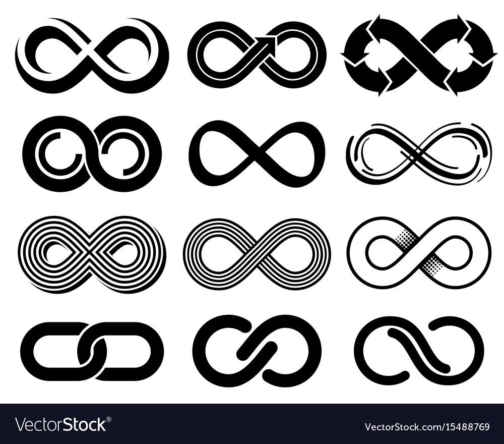 Infinity symbols mobius loop icons Royalty Free Vector Image