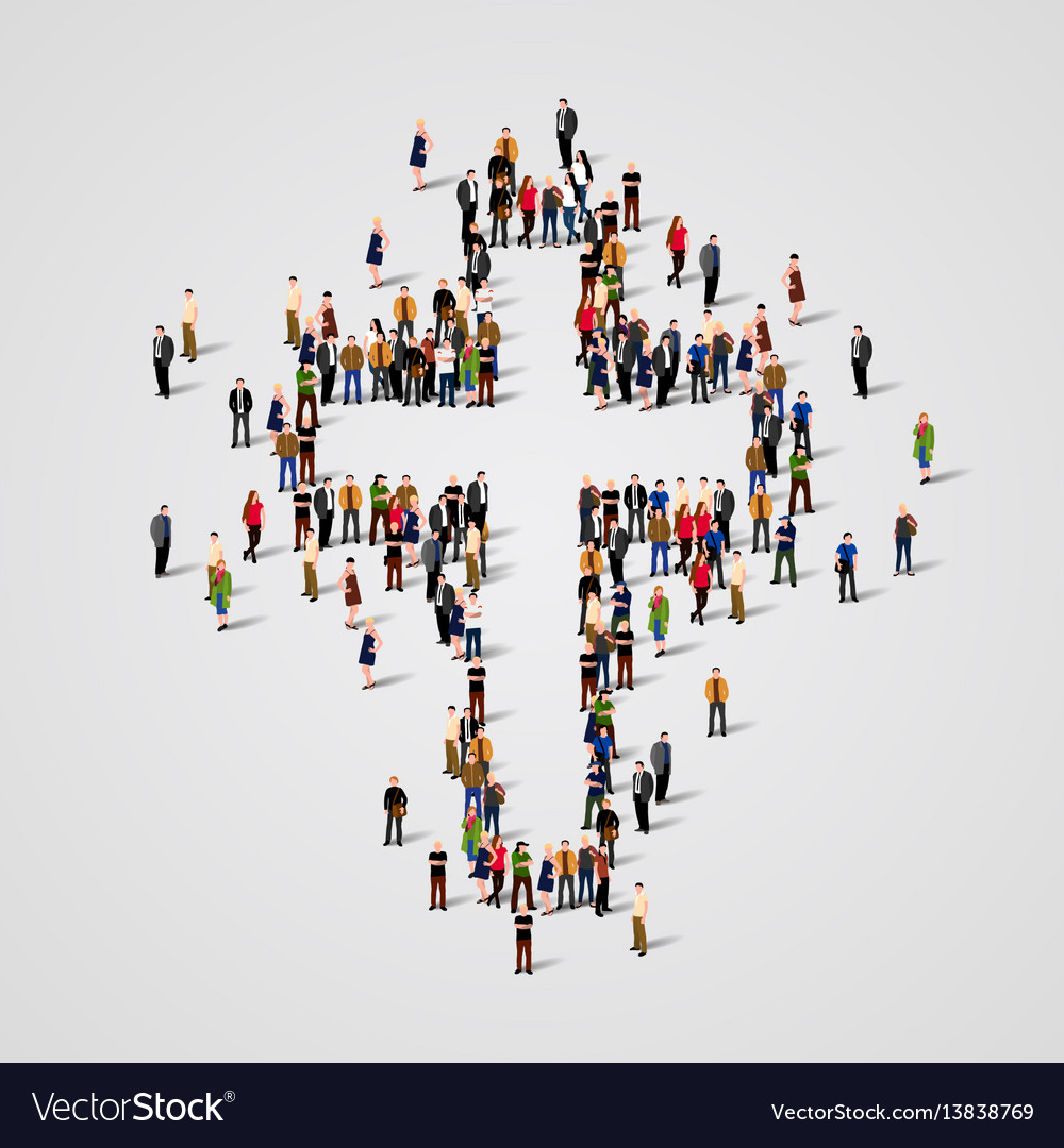 Large group of people in the cross shape
