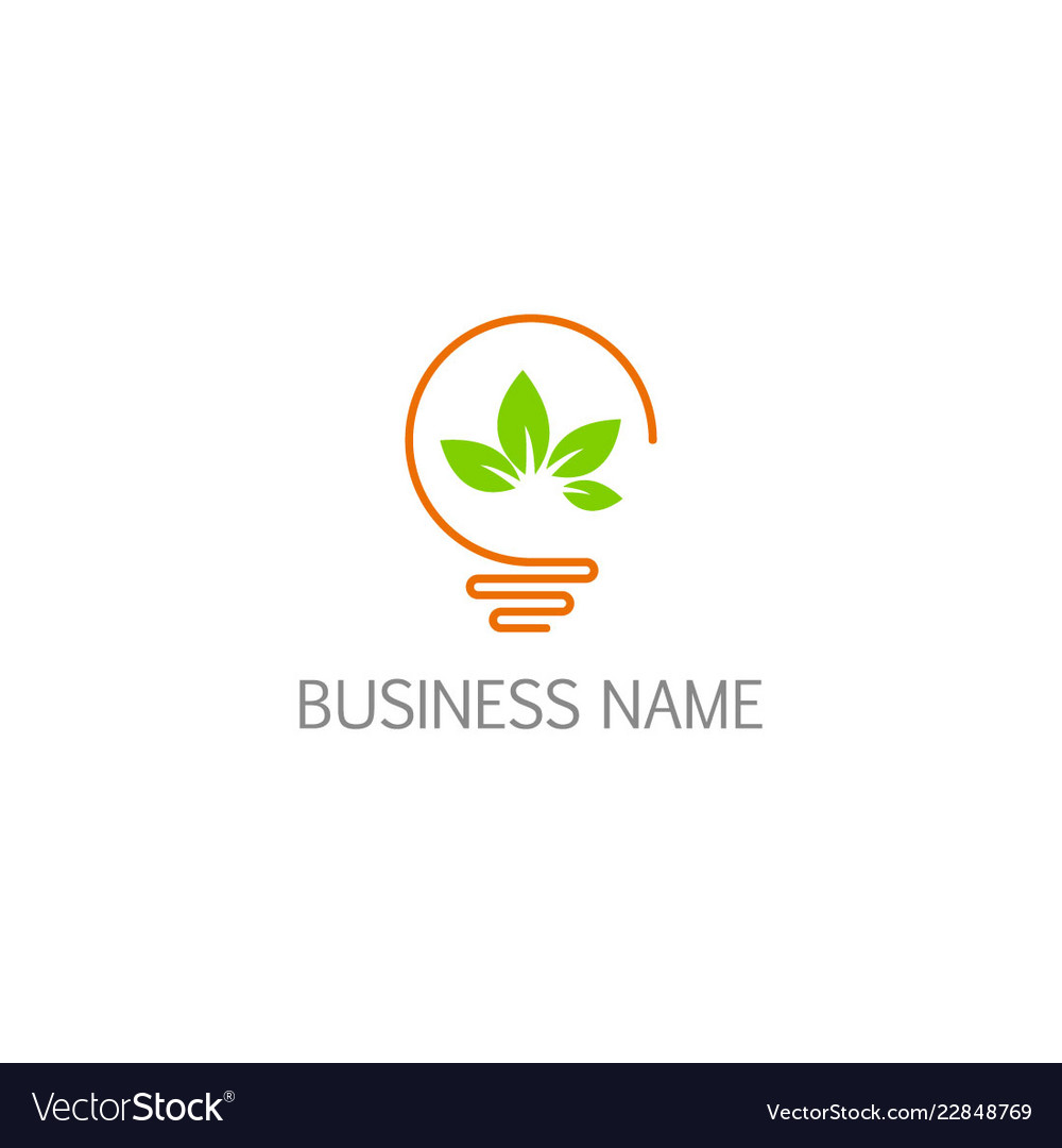 Light bulb green leaf eco power logo