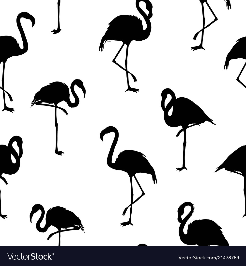 Seamless pattern with flamingo