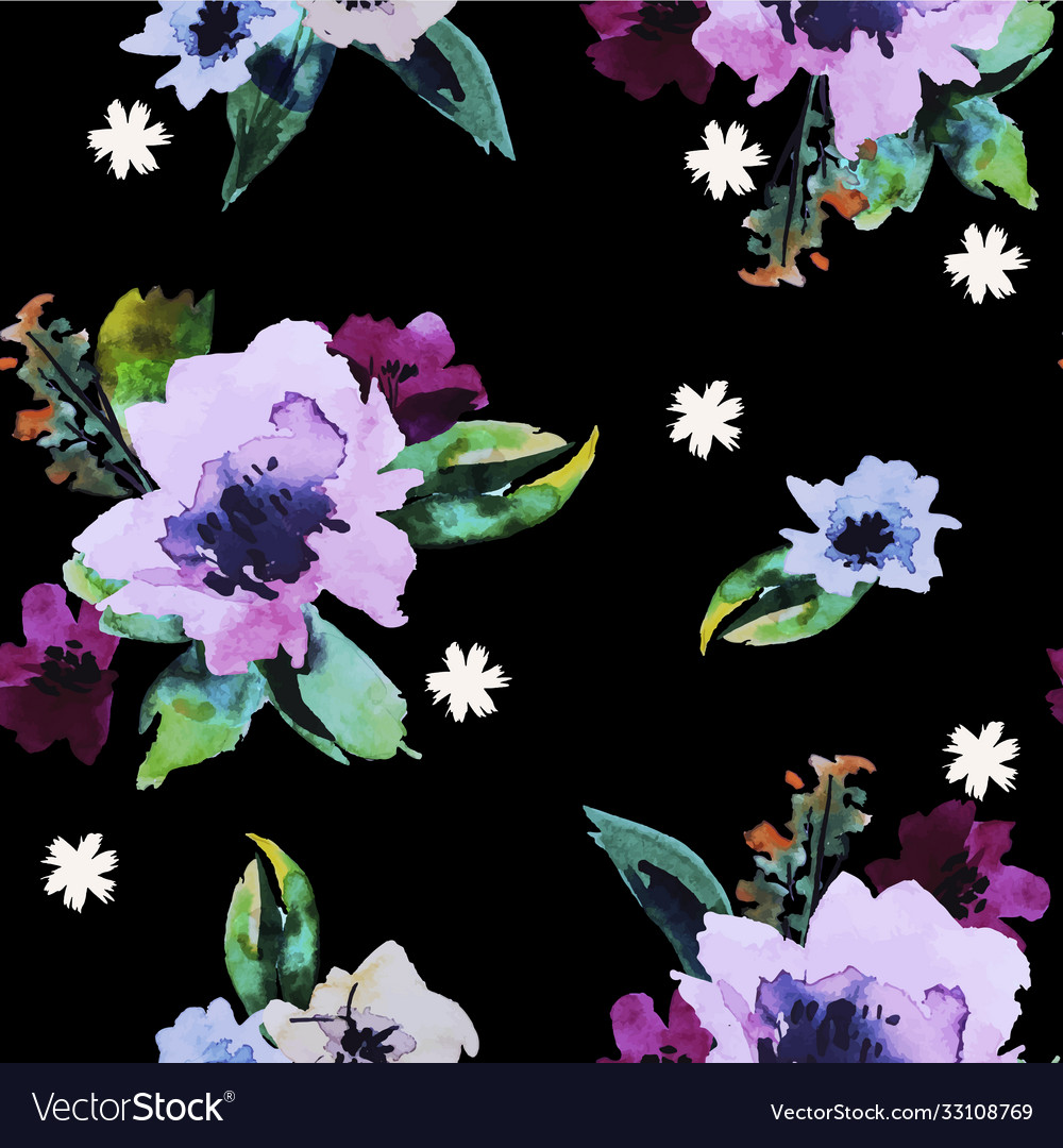 Seamless pattern with watercolor flowers trendy