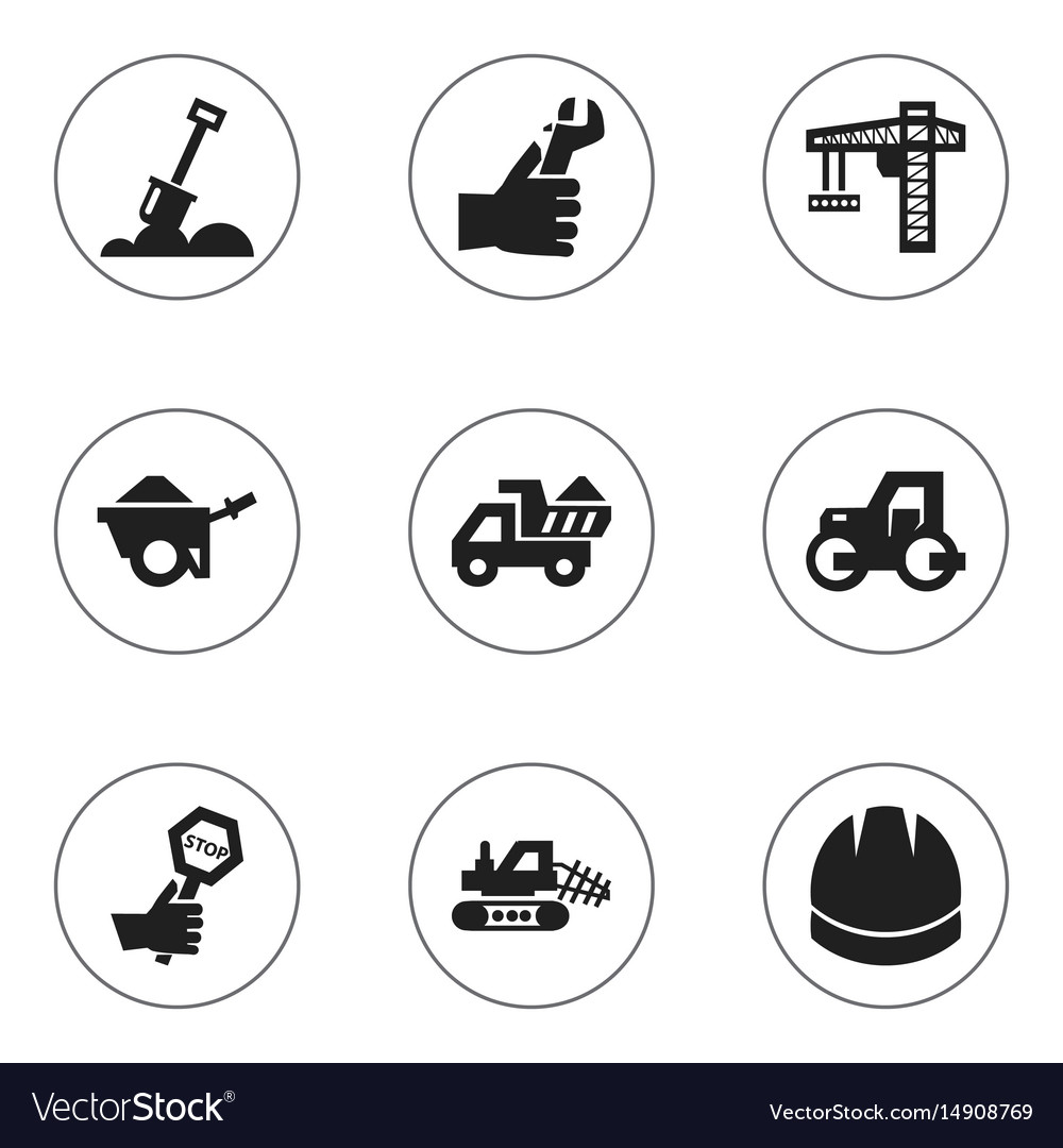 Set of 9 editable building icons includes symbols