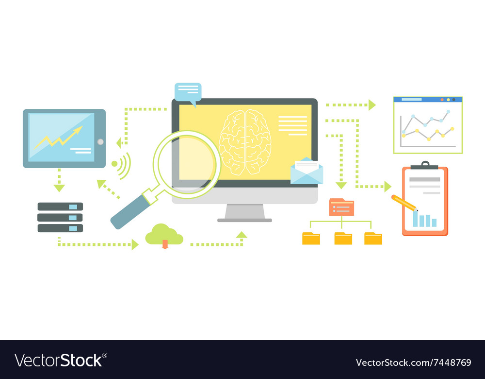 Smart Technology for SEO Analytics Icon Flat