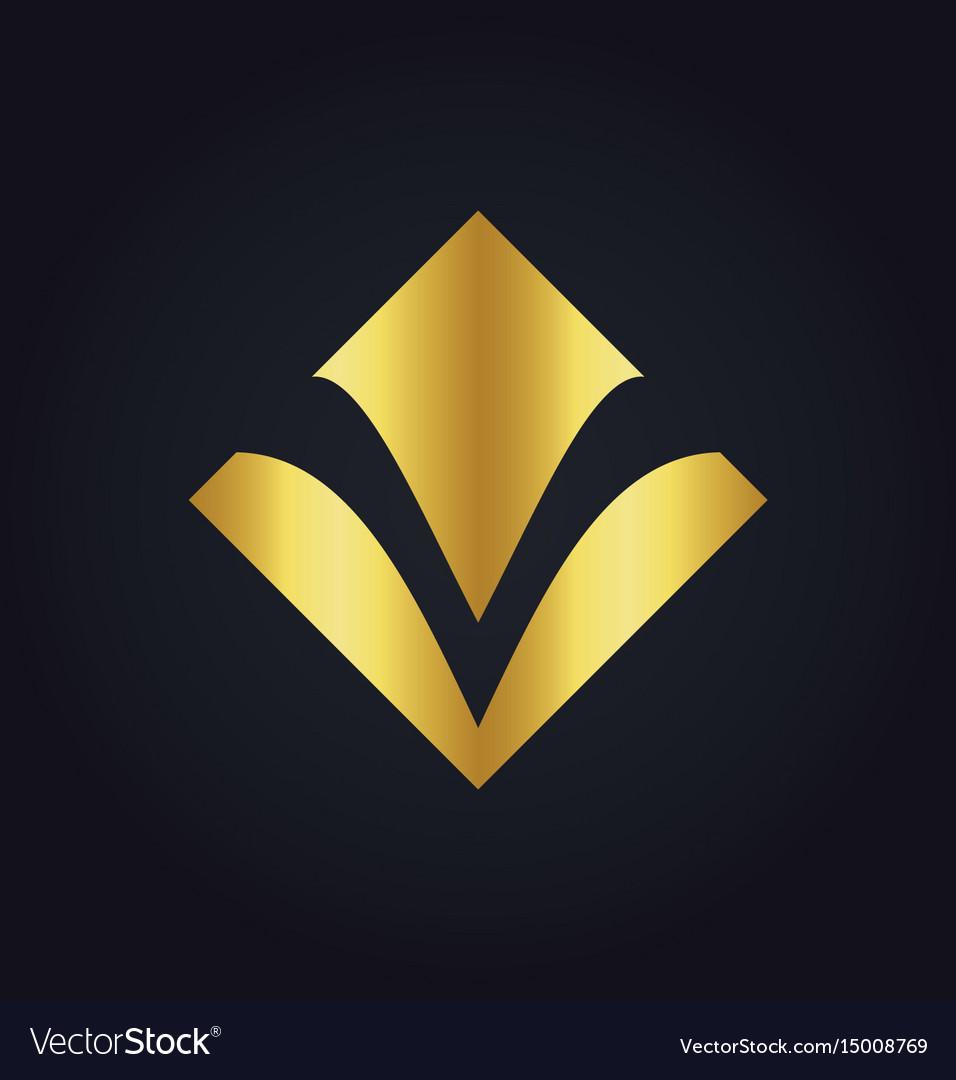Square Letter V Gold Logo Royalty Free Vector Image