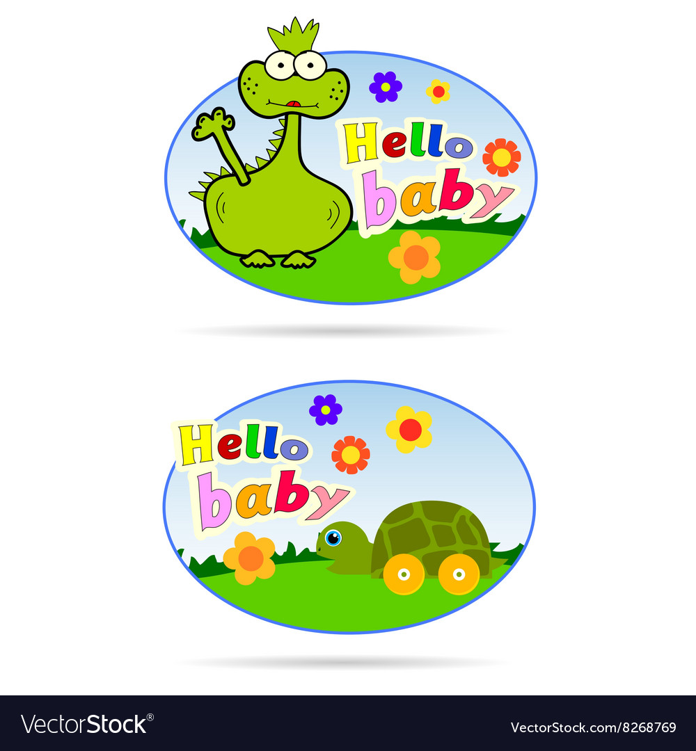 Stickers for babies with dino and turtle vector image