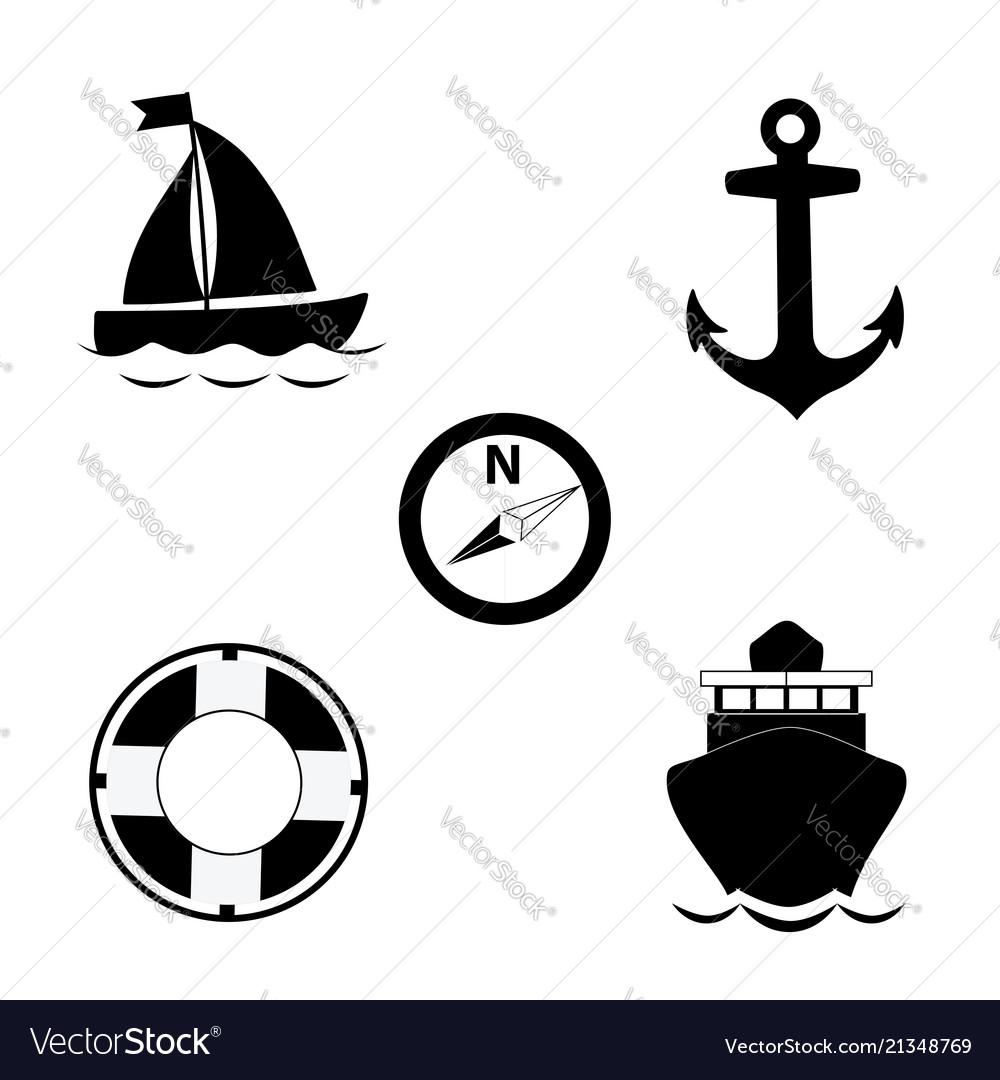 Summer travel sea icon set isolated on white
