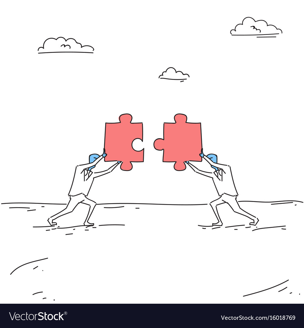 Two business men solving puzzle work together vector image