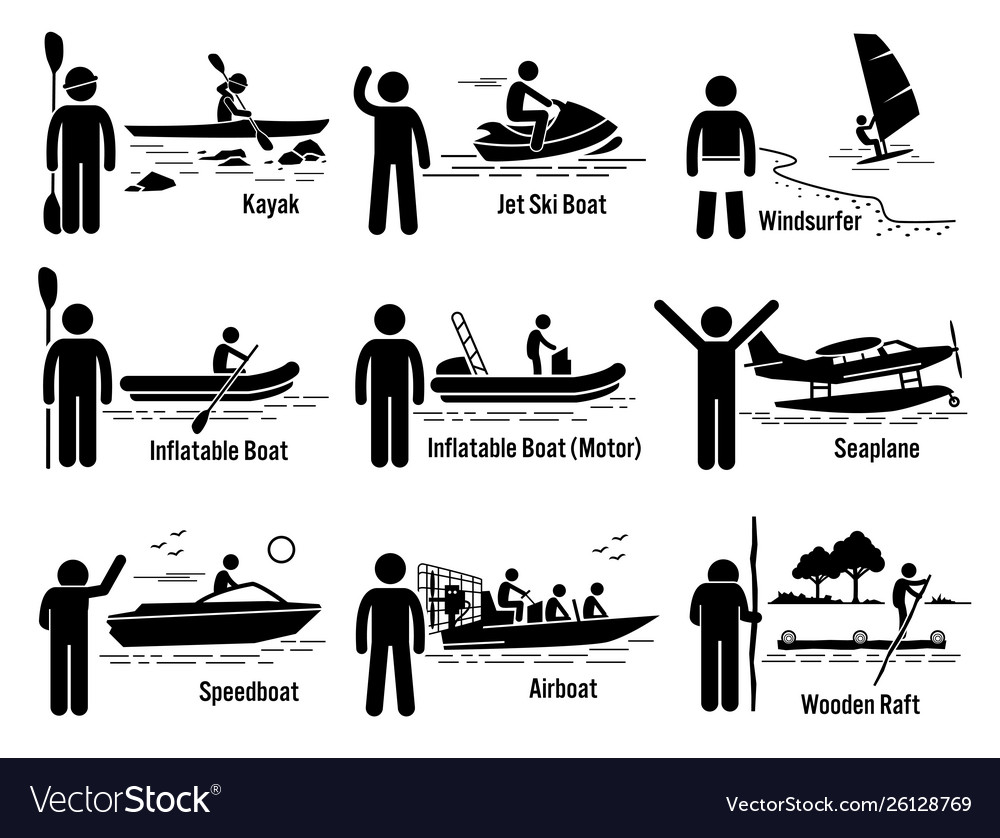 Water sea recreational vehicles and people set
