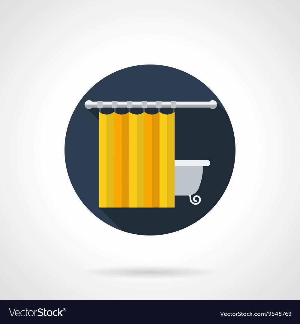 Yellow Bathroom Curtains Round Flat Icon Vector Image