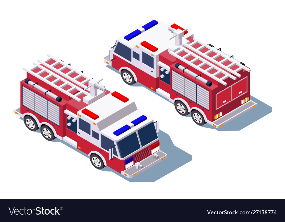 3d isometric fire truck for fire extinguishing