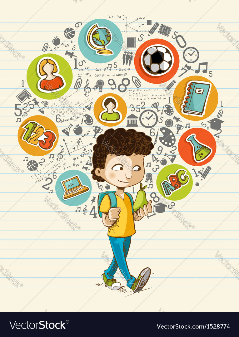 Back to school education icons colorful cartoon