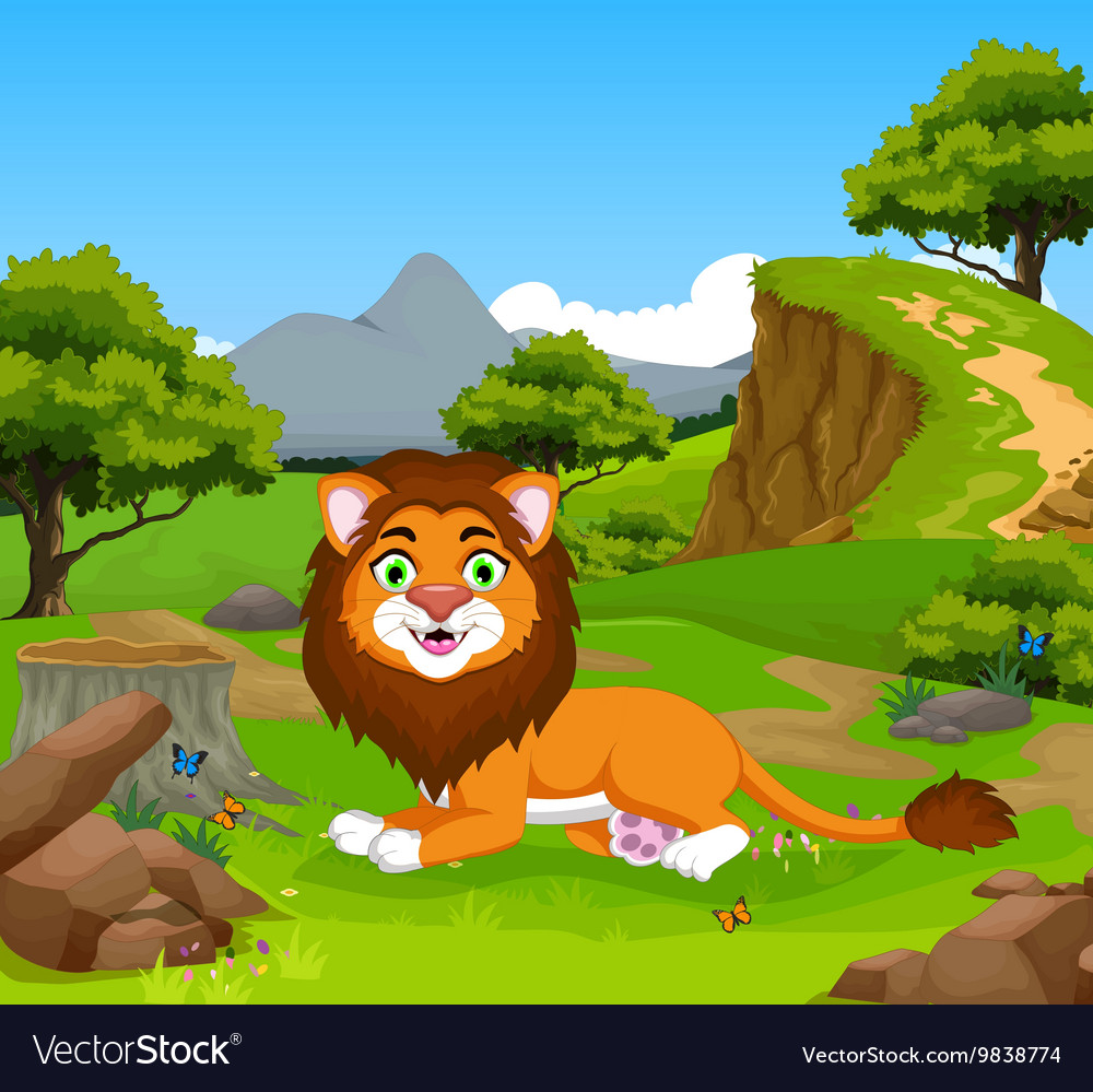 Funny lion cartoon in the jungle