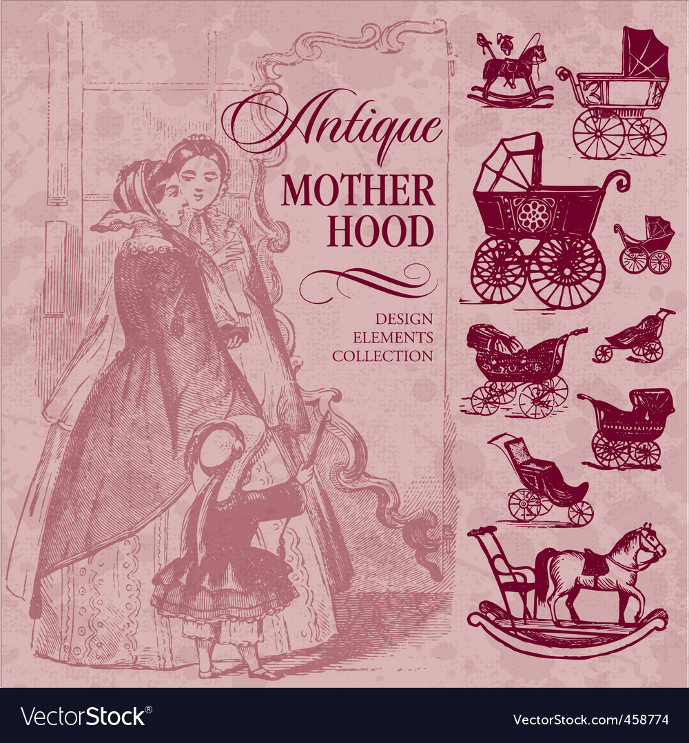 Motherhood antique set vector image