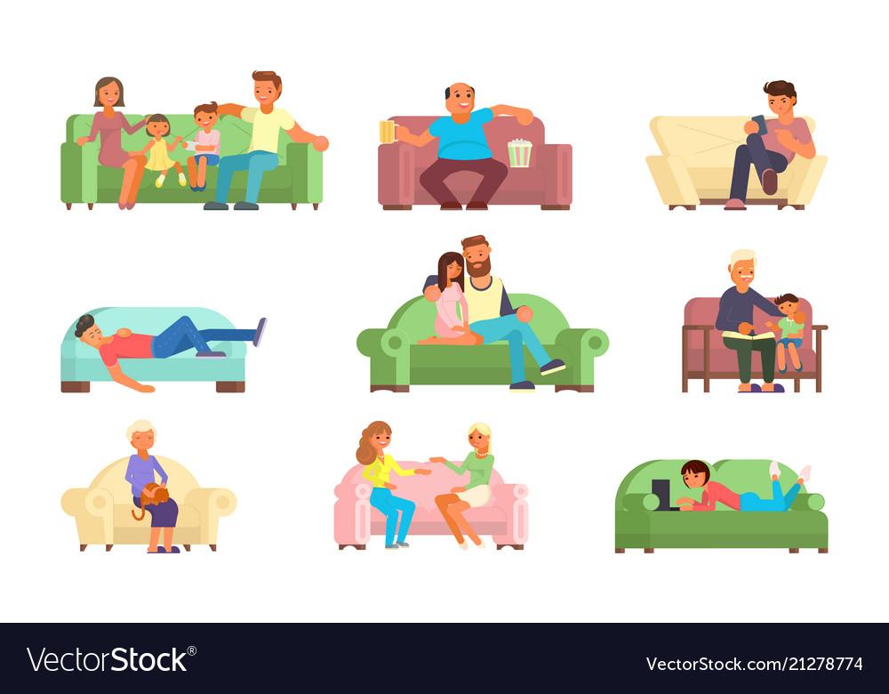 People on sofa flat style