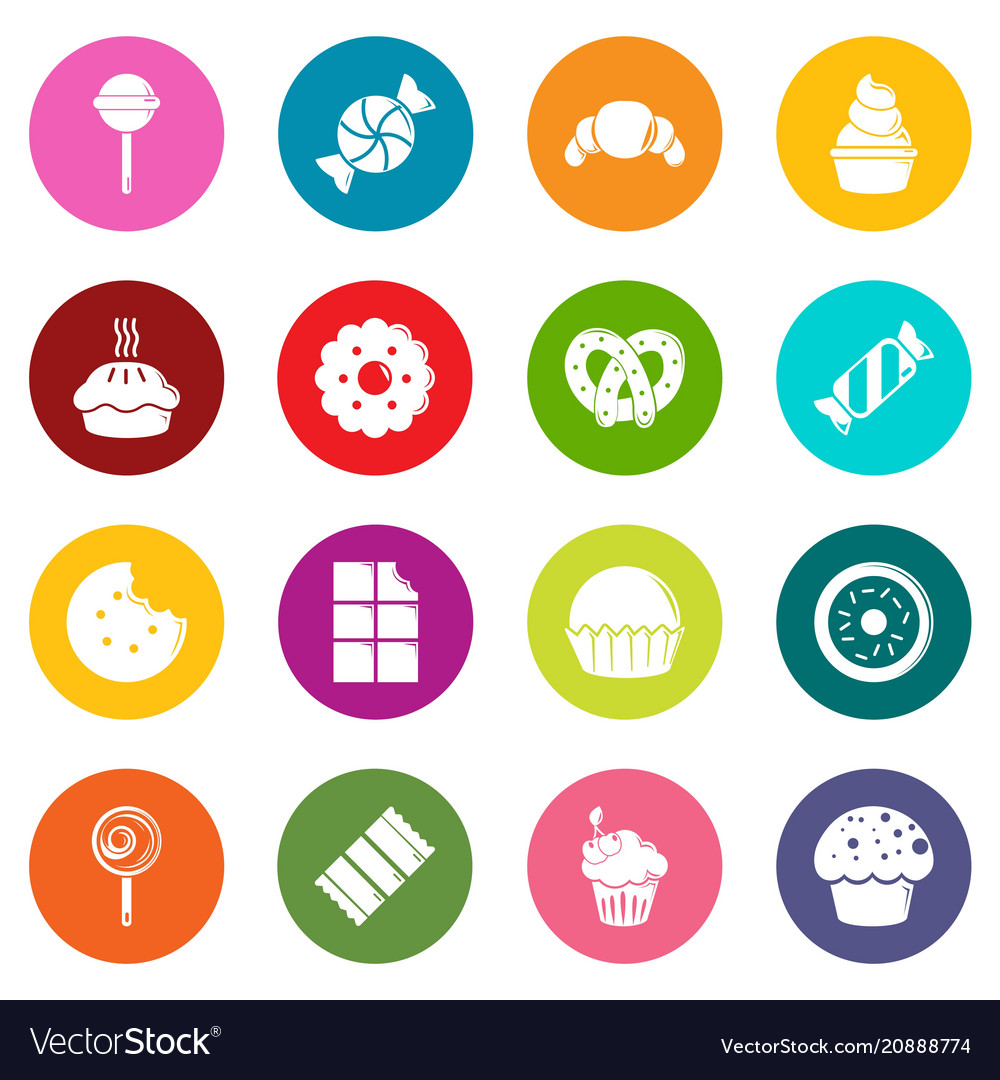 Sweets candy cakes icons set colorful circles