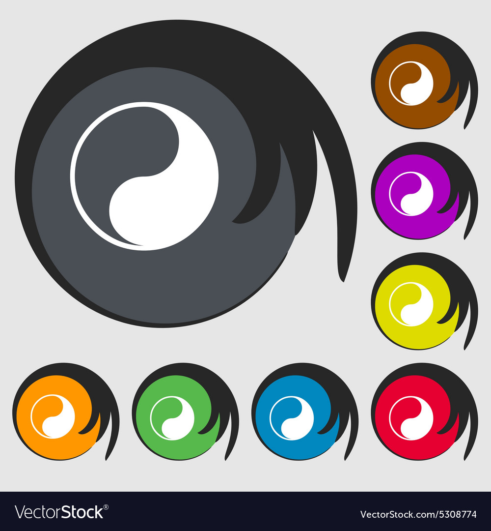 Yin Yang Icon Sign Symbol On Eight Colored Buttons