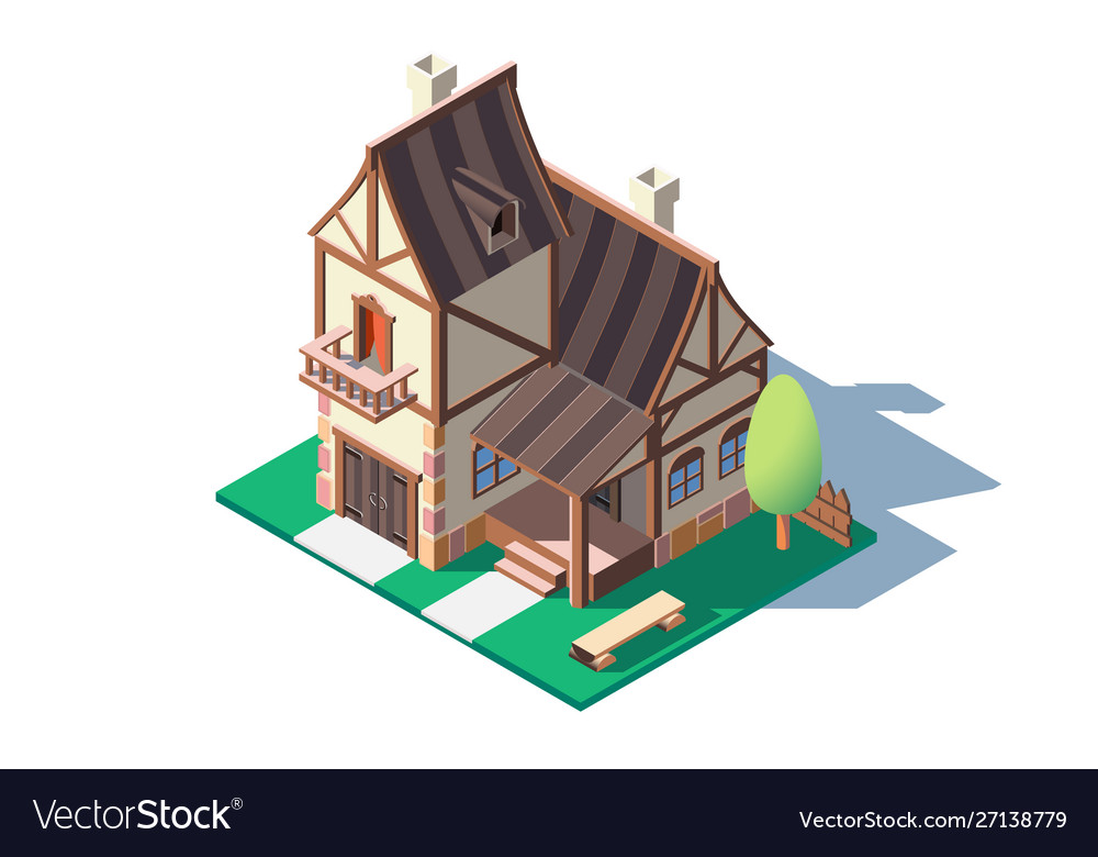3d isometric large classic village house with