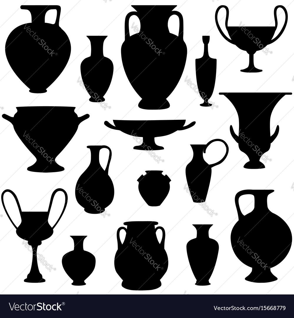 Ancient greek vase silhouette set greece icon