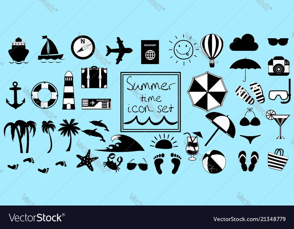 Black and white summer travel or vacation beach