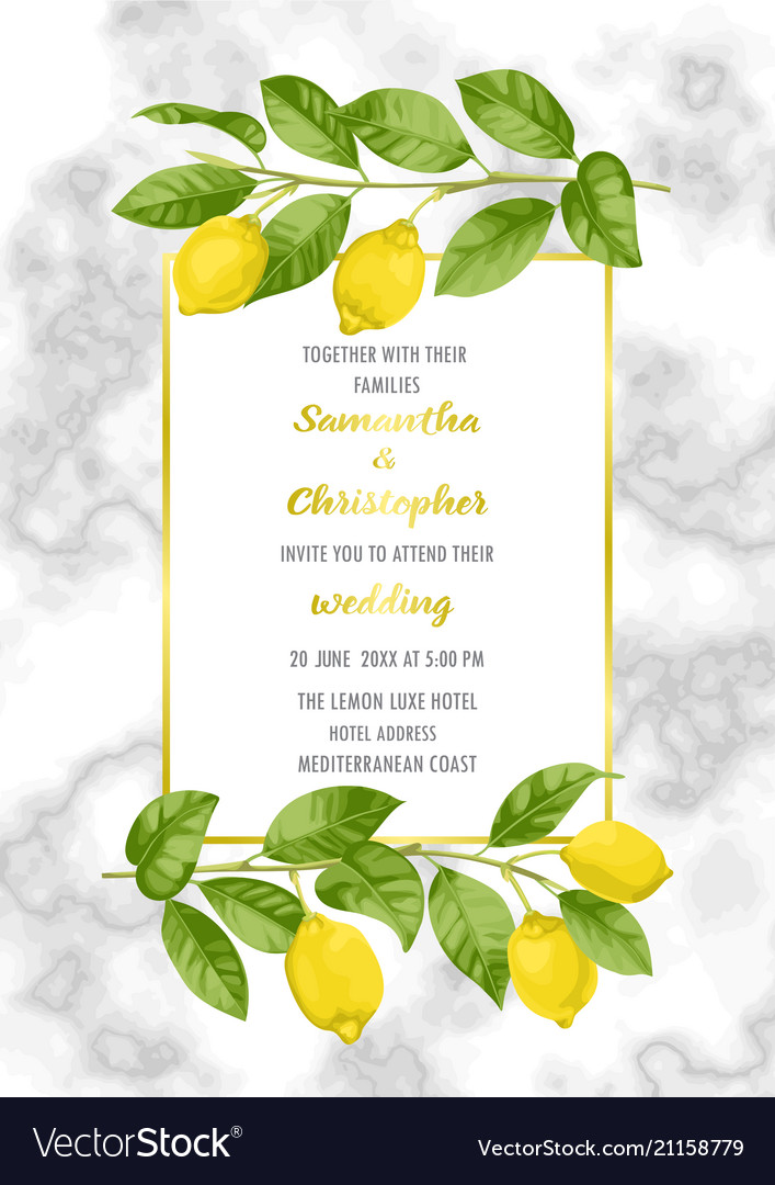Classic marble wedding invitation card with lemon Vector Image