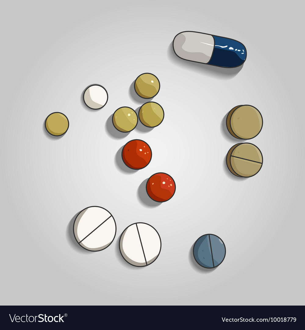 Colorful pill and tabs on grey background