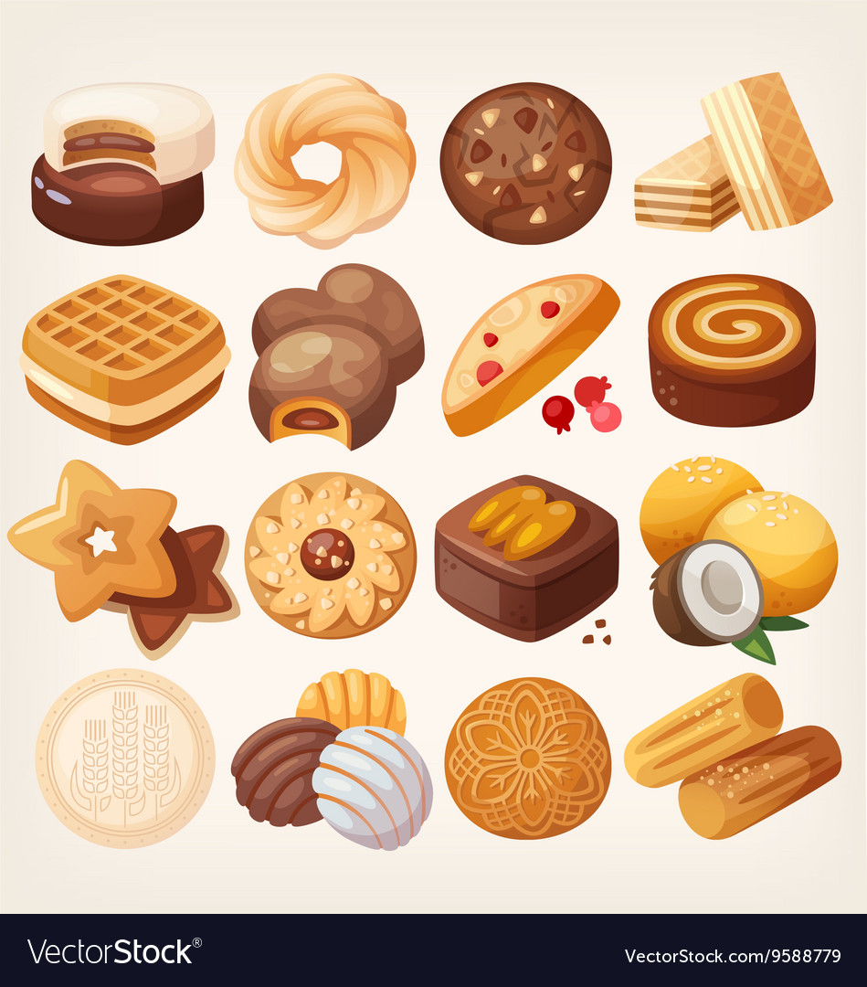 Cookies and biscuits icons set