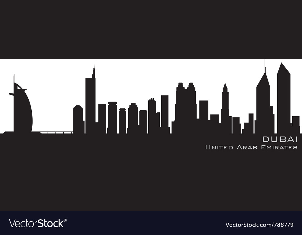 Dubai emirates skyline detailed silhouette