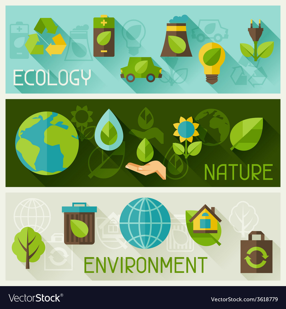 Ecology banners with environment icons