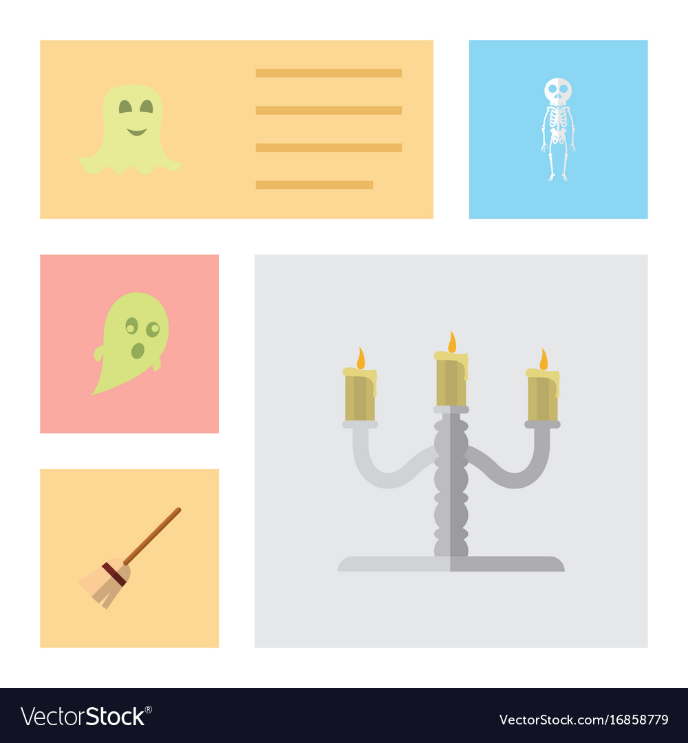 Flat icon celebrate set of spirit candlestick vector image