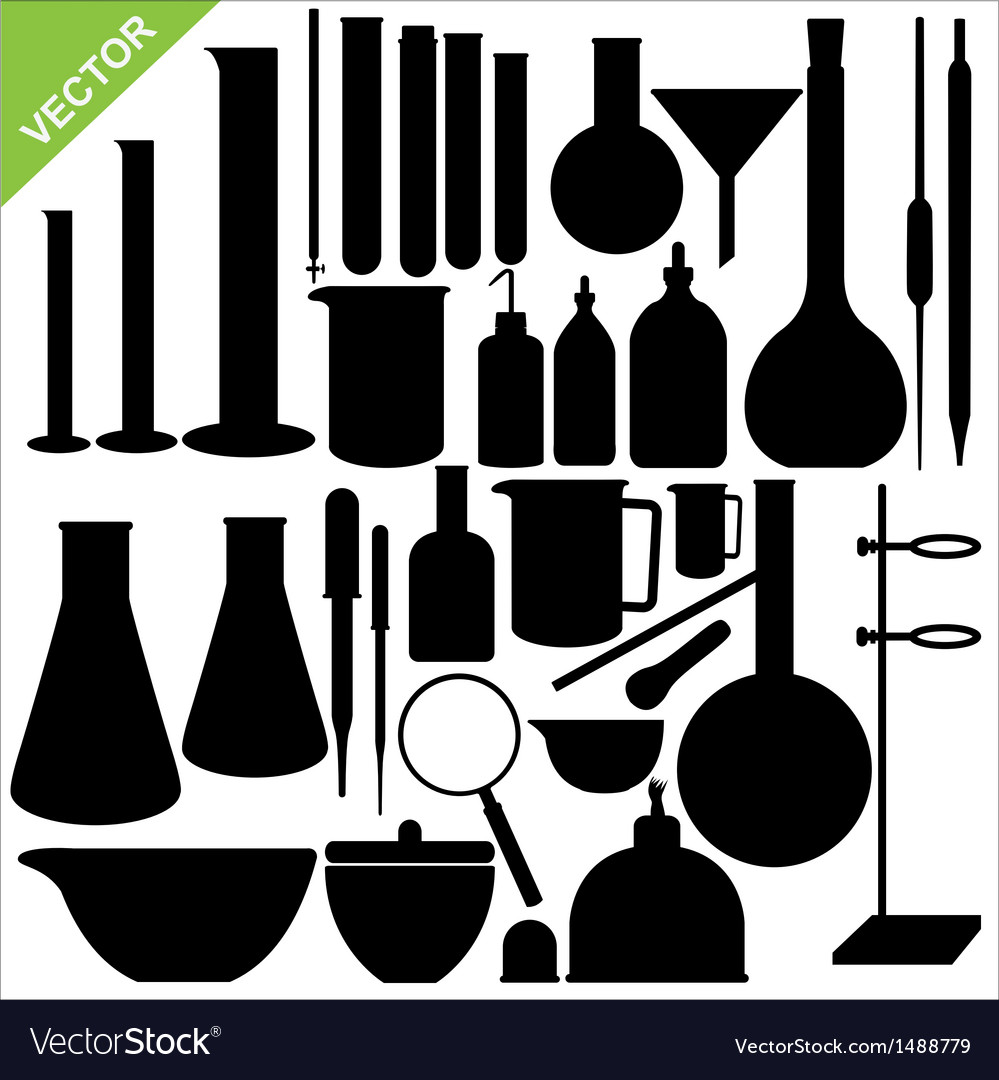 Science laboratory silhouettes vector image