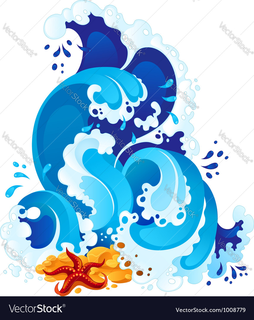 Sea surf in decorative style vector image