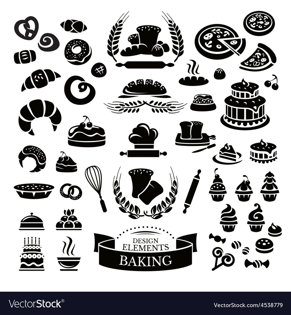 Set of bakery design elements and icons