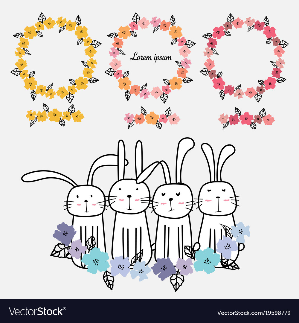 Set of floral frames and cute bunny