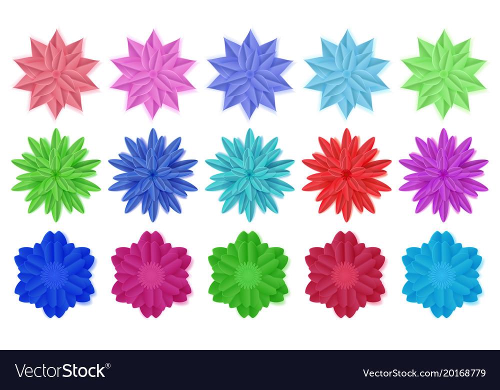 Set paper flowers